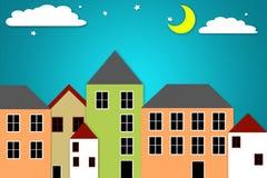 Der Mond u. der Stern, Nachtstadt. Stock Abbildung
