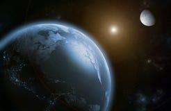 Der Mond und die Erde vor einer Sonnenfinsternis Stockfoto