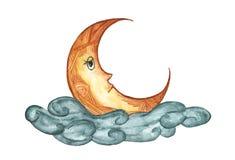 Der Mond in der Wolke lokalisiert auf weißem Hintergrund, Illustration des nächtlichen Himmels, Hand gezeichnetes Aquarell Lizenzfreies Stockbild