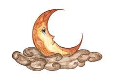 Der Mond in der Wolke lokalisiert auf weißem Hintergrund, Illustration des nächtlichen Himmels, Hand gezeichnetes Aquarell Stockbilder
