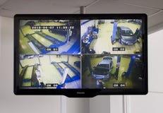 Der Monitor mit dem Bild eines Reparatur-Bereichs eines Ausstellungsraums Lizenzfreies Stockfoto