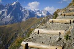 Der Montblanc-Gletscher Lizenzfreie Stockfotos