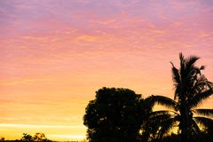Der Morgensonnentag auf Himmelgoldfarbe lizenzfreie stockbilder