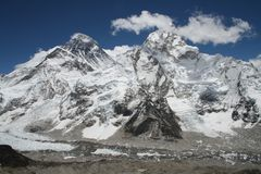 Der Mount Everest u. Mt. Nuptse Lizenzfreie Stockbilder
