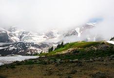 Der Mount- Rainierspitze mit Gletscher im Nebel Stockfotografie