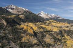 Der Mount Wilson und Wilson Peak in Uncompahgre-staatlichem Wald Stockbild