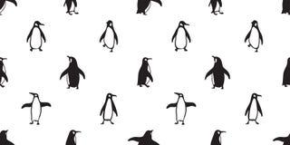 Der Mustervektorlachsfischkarikatur des Pinguins nahtloser Fliesenhintergrundwiederholungstapeten-Gekritzelillustration Schal lok Stockfotos
