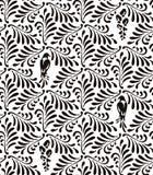 Der nahtlose stilisierte Mustermit blumenhintergrund verlässt, Vögel und Blumen stock abbildung