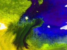 Der Natur-Seeküste des Aquarellkunsthintergrundes empfindliches buntes frisches romantisches Stockbilder