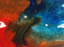 Der Natur-Seeküste des Aquarellkunsthintergrundes empfindliches buntes frisches romantisches Lizenzfreies Stockbild