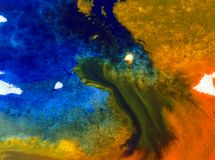 Der Natur-Seeküste des Aquarellkunsthintergrundes empfindliches buntes frisches romantisches Stockfotografie