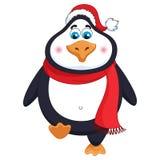 Der nette nette Pinguin des neuen Jahres in im roten Hut und dem Schal des Winters geht Stockbilder