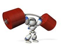 Der nette Roboter kann ein Schwergewicht leicht leicht anheben vektor abbildung