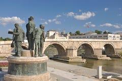 Der neue Blick der Skopje-Stadt, Makedonien lizenzfreies stockbild