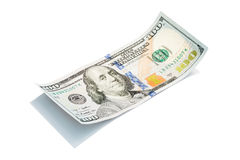 Der neue Dollarschein US 100 auf weißem, Makroschuß S 100 Dollarschein Lizenzfreie Stockbilder