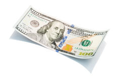 Der neue Dollarschein US 100 auf weißem, Makroschuß S 100 Dollarschein Lizenzfreies Stockbild
