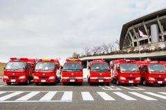 Der neue Jahr-Feuer-Bericht Kanagawa, Japan Lizenzfreie Stockfotos