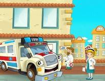 Der Notdienst - der Krankenwagen - Illustration für die Kinder Stockbild