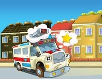 Der Notdienst - der Krankenwagen - Illustration für die Kinder Stockfotos