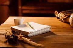 Der Notizblock, der Stift und der Kaffee auf dem Schmutzholztisch Lizenzfreie Stockfotografie