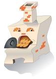 Der Ofen mit Torten stock abbildung