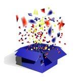 Der offene Kasten, das blaue Geschenk und die Konfettis lizenzfreie abbildung