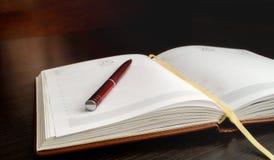 Der offene Organisator und der Stift liegen auf einer Tabelle Lizenzfreies Stockfoto