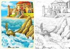 Der Ozean und die Meerjungfrauen - Farbtonseite vektor abbildung