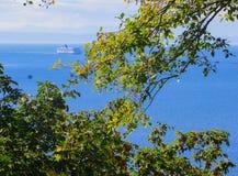 Der Ozeandampfer geht zu einem Trockner als schwimmend Vancouver 2014 lizenzfreies stockbild