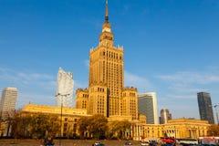 Der Palast der Kultur und der Wissenschaft in Warschau Stockbilder