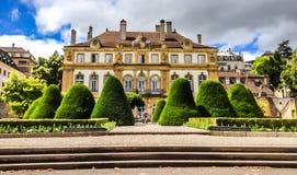 Der Palast du Peyrou Le Palais du Peyrou, eine große Villa errichtet im 18. Jahrhundert für Pierre-Alexandre Du Peyrou lizenzfreie stockbilder