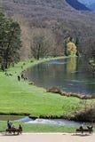 Der Park und der See in Vizille, vom Schloss Stockfoto