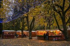Der Park von Acqua Sankt mit dem Weihnachtsmarkt in Chianciano Terme zur Winterzeit Lizenzfreie Stockbilder