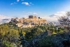 Der Parthenon-Tempel der Akropolises von Athen bedeckte im hellen Schnee stockbild