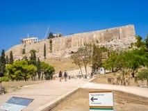 Der Parthenontempel über dem Akropolishügel Lizenzfreie Stockfotografie