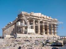 Der Parthenontempel im Akropolis-Hügel Stockbilder