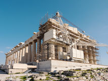 Der Parthenontempel im Akropolis-Hügel Lizenzfreie Stockbilder