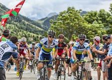 Der Peloton auf Alpe d'Huez Stockbild