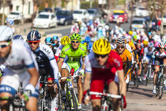Der peloton Paris Nizza 2013 in Nemours Lizenzfreie Stockfotos