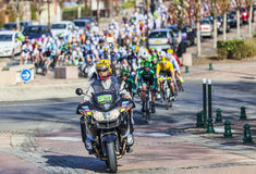 Der Peloton Paris Nizza 2013 in Nemours Stockbilder