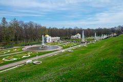 Der Peterhof-Palast ist eine Reihe Paläste und arbeitet lokalisierte i im Garten lizenzfreie stockfotos