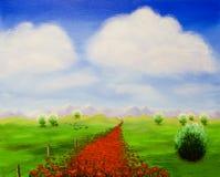 Der Pfad mit Mohnblumen Stockbilder