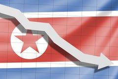 Der Pfeil fällt auf den Hintergrund der Nordkorea-Flagge lizenzfreie abbildung