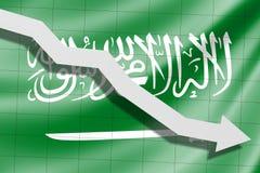 Der Pfeil fällt auf den Hintergrund der Saudi-Arabien Flagge vektor abbildung