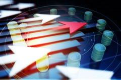 Der Pfeil mit der Zeit und dem Geld Lizenzfreie Stockfotografie