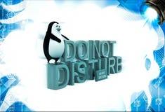 der Pinguin 3d, der an sitzt, stören nicht Text illustation Stockbilder