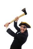 Der Piratengeschäftsmann mit der Axt lokalisiert auf Weiß Lizenzfreies Stockfoto