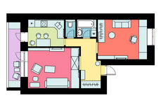 Der Plan der Anordnung für Möbeleinzelzimmerwohnung mit Stockfotografie