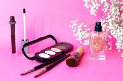 Der Plan von Kosmetik auf einem rosa Hintergrund mit einer Niederlassung einer Zierpflanze lizenzfreies stockfoto