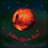 Der Planet Mars Mit Text Stockbild